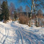 Peder Mørk Mønsted – private collection. Title: Sunlit Winter Landscape. Date: 1919. Materials: oil on canvas. Dimensions: 71.5 x 97.5 cm. Sold by Bukowskis. Source: https://www.bukowskis.com/en/auctions/574/166-peder-mork-monsted-solbelyst-vinterlandskap. I have changed the contrast of the original photo.